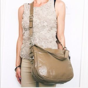 Coach Zoe Taupe Nude Patent Leather Med Crossbody